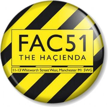 Factory Records Hacienda Pinback Button Badge Manchester Club Label 1980s Yellow and Black Stripe